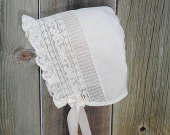 Baby Bonnet - Heirloom Style - Sz 3-6mo.