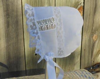 Baby Bonnet - heirloom Style - sz 3-6 mo