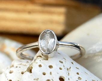 Beautiful White Topaz Ring, Natural White Topaz Ring - 925 Sterling Silver Handmade Ring - Gift Ring