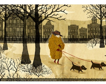 Lady with the Pet Dogs. Signed Archival Giclee Print.