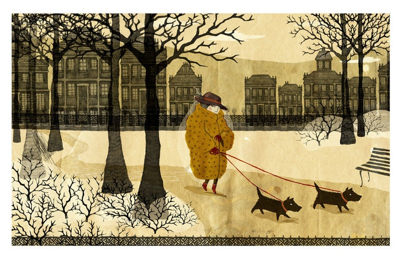 Lady with the Pet Dogs. Signed Archival Giclee Print. image 0