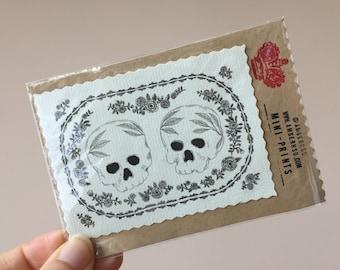 Hand-cut Miniprint: Deathly Duet of Skulls!