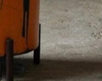 """11.00"""" XL Oak wood Mid Century unique RAKU Planter Architecture Pottery Plant Stand Flower Pot Retro Vintage N03"""