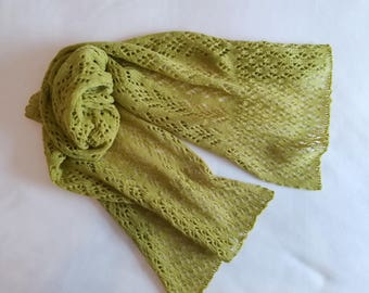 Green lace scarf/ lime green scarf/ pistachio green scarf/ lace scarf