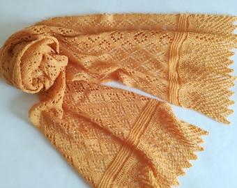 SALE  Orange lace scarf/ gold lace scarf/ Merino wool scarf/ summer scarf