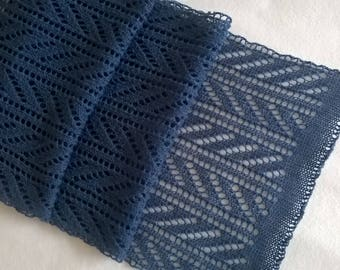 blue lace scarf/ teal blue scarf/ lace scarf/ wool scarf