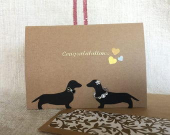 Dachshund Engagement/Congratulations greeting Card with envelope