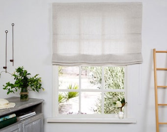 linen window shades white linen roman blindroman blind roman shade in beige color hardware is included hand made shades custom shade roman shades etsy