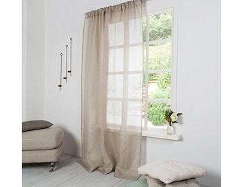 Natural Linen Curtain-Curtain-Sheer Linen Panel Curtain with Rod pocket ''(10cm)width -Linen Panel - Width 67''(170cm)xCustom length