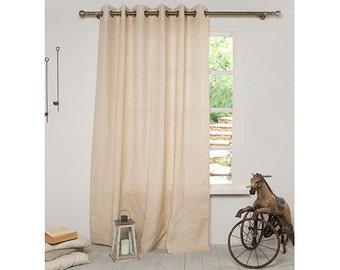 Linen Curtain-Linen Panels-Curtains-Linen drapes with grommets-Linen panel in antic beige-Width 59''x Custom length