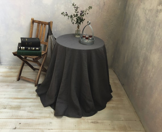 Large Round Table Cloth.Linen Tablecloth Round Linen Tablecloth Extra Large Round Tablecloth In Dark Grey Table Linens Tablecloth Washed Linen Tableloth