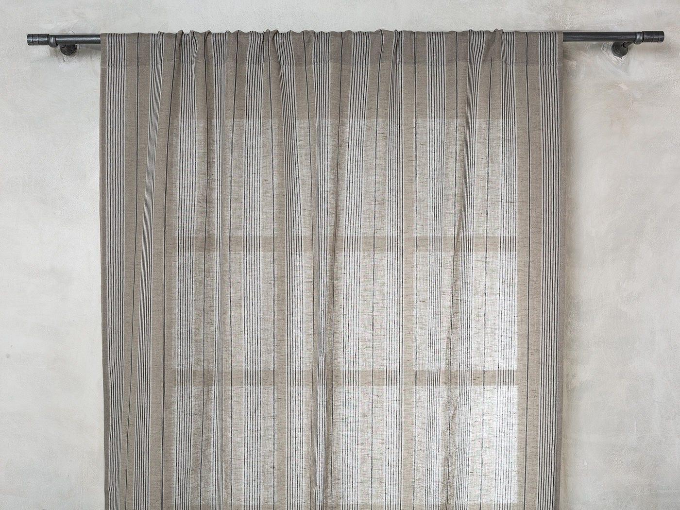 Linen Curtain-Linen Drapes- Curtains-Striped Linen Curtain