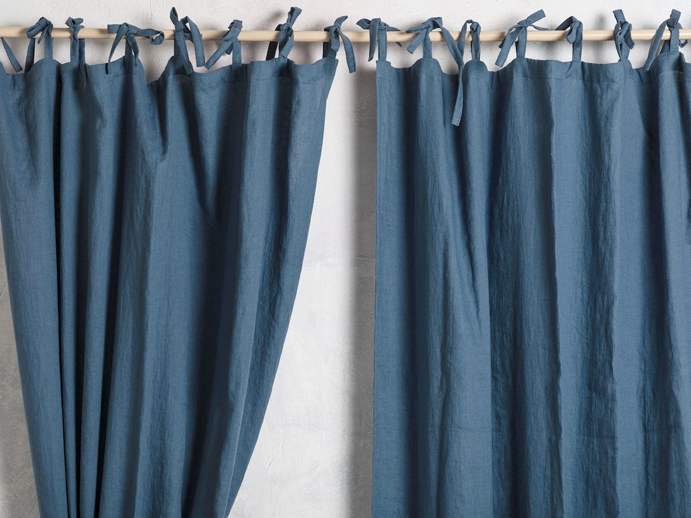 Linen Curtain Panel-Linen Curtain Drape In Blue Color