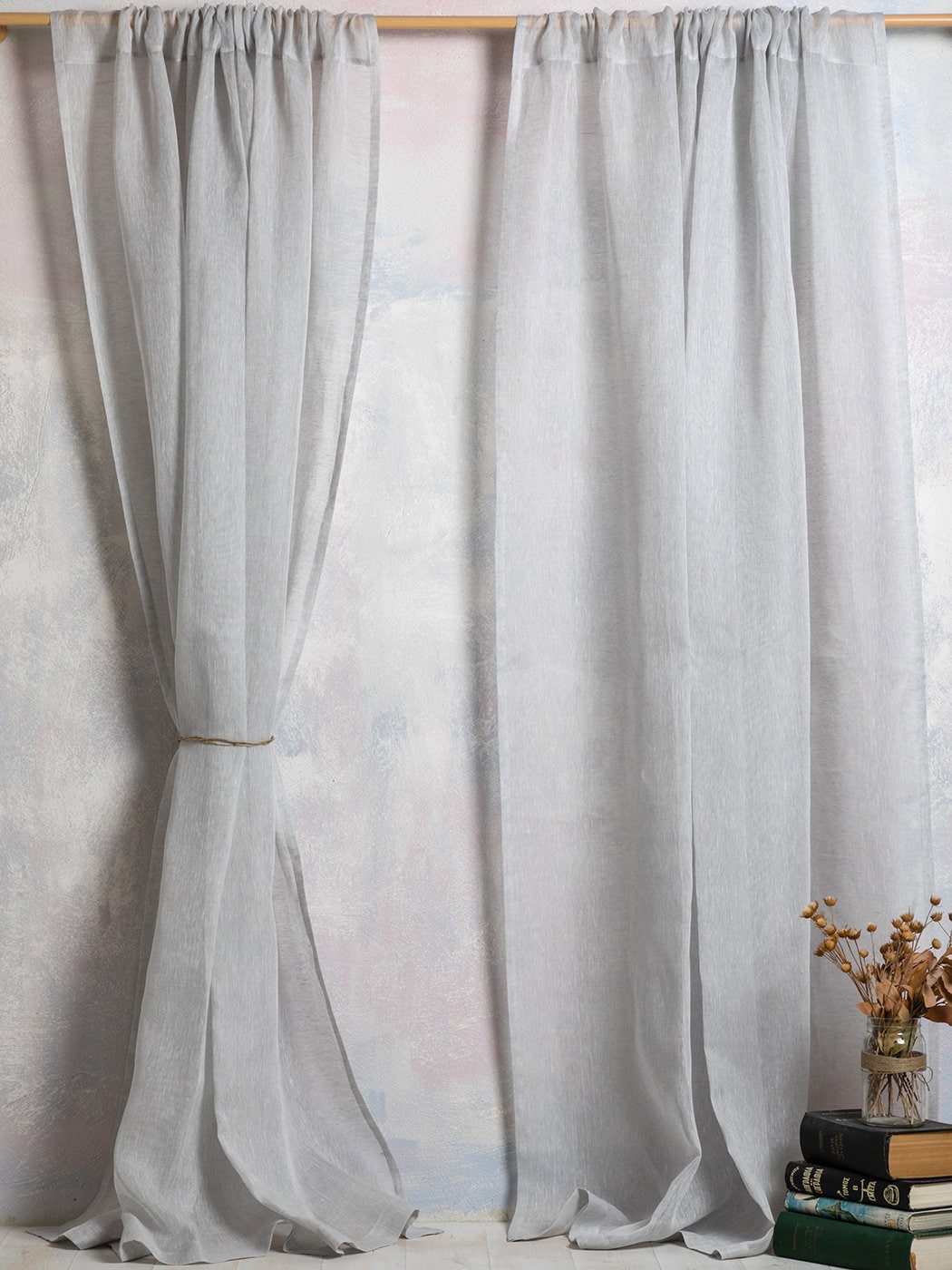 Linen Curtains Curtains Linen Panels Sheer Linen Curtains Light Grey Color A Pair Linen Panels With Rod Pocket Width 67 170 Xcust Length