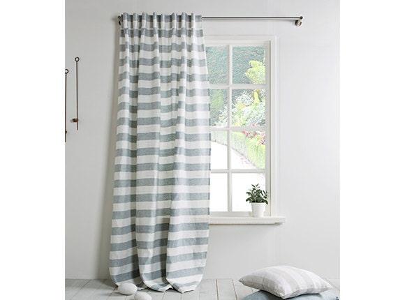 Linen Curtain-Linen Drapes- Linen Panel In Grey Blue-white