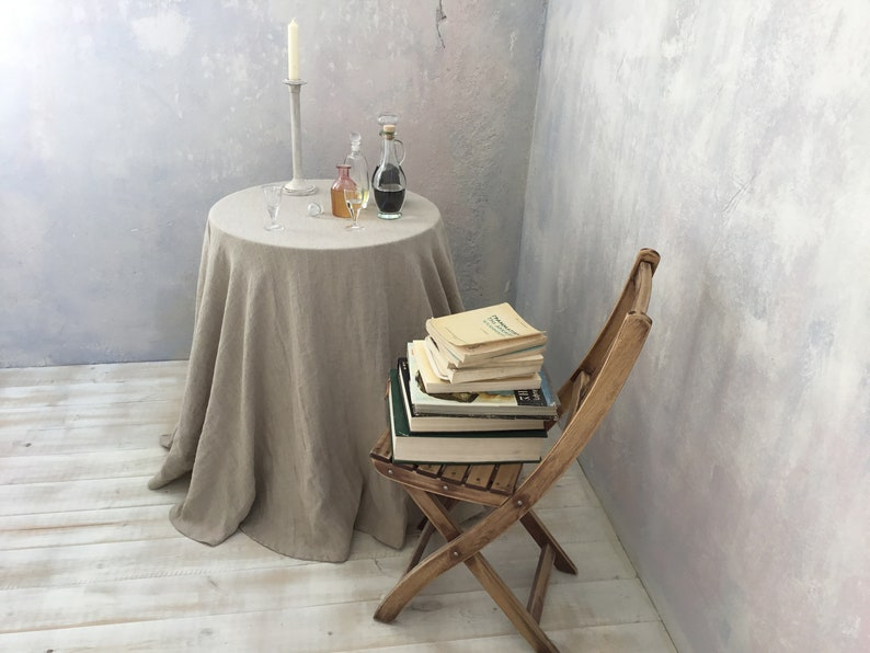 Extra Large Round Table Cloth.Linen Tablecloth Round Linen Tablecloth Extra Large Round Tablecloth In Natural Color Table Linens Tablecloth Washed Linen Tableloth