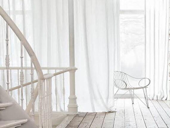 White Linen Curtain-Linen Curtain-Semi-sheer Linen