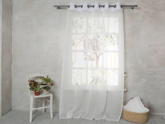 Tende Di Lino Bianche.Tenda In Lino Bianco Lino Pannello Tenda Di Lino Con Etsy