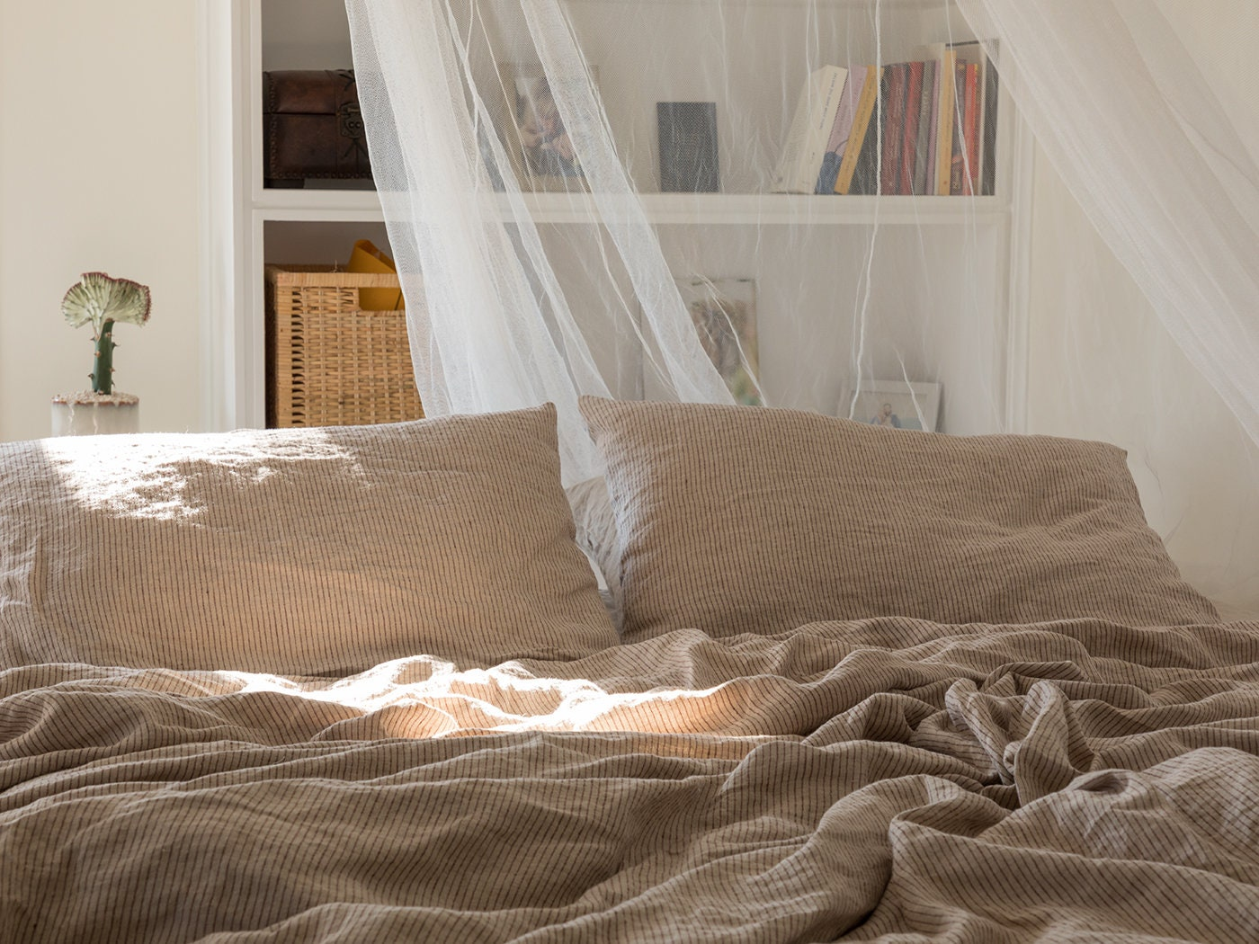 Linen Duvet Cover Washed Linen Duvet Cover Linen Duvet Cover In Natural Color With Bordo Stripes Linen Bedding Available In Any Size