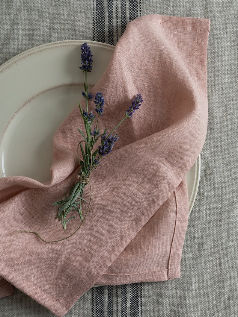 Washed Linen Napkins-Set of 4-6-8 Washed Linen napkins. 10 Romantic Tranquil Pink Paint Colors & Pretty Finds!