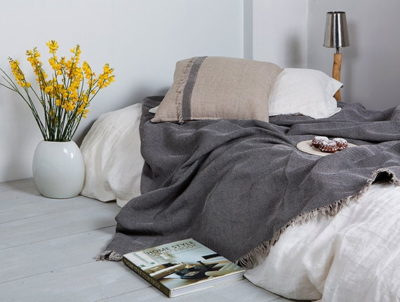 linen throw linen throw for bed and sofa with jacquard etsy. Black Bedroom Furniture Sets. Home Design Ideas