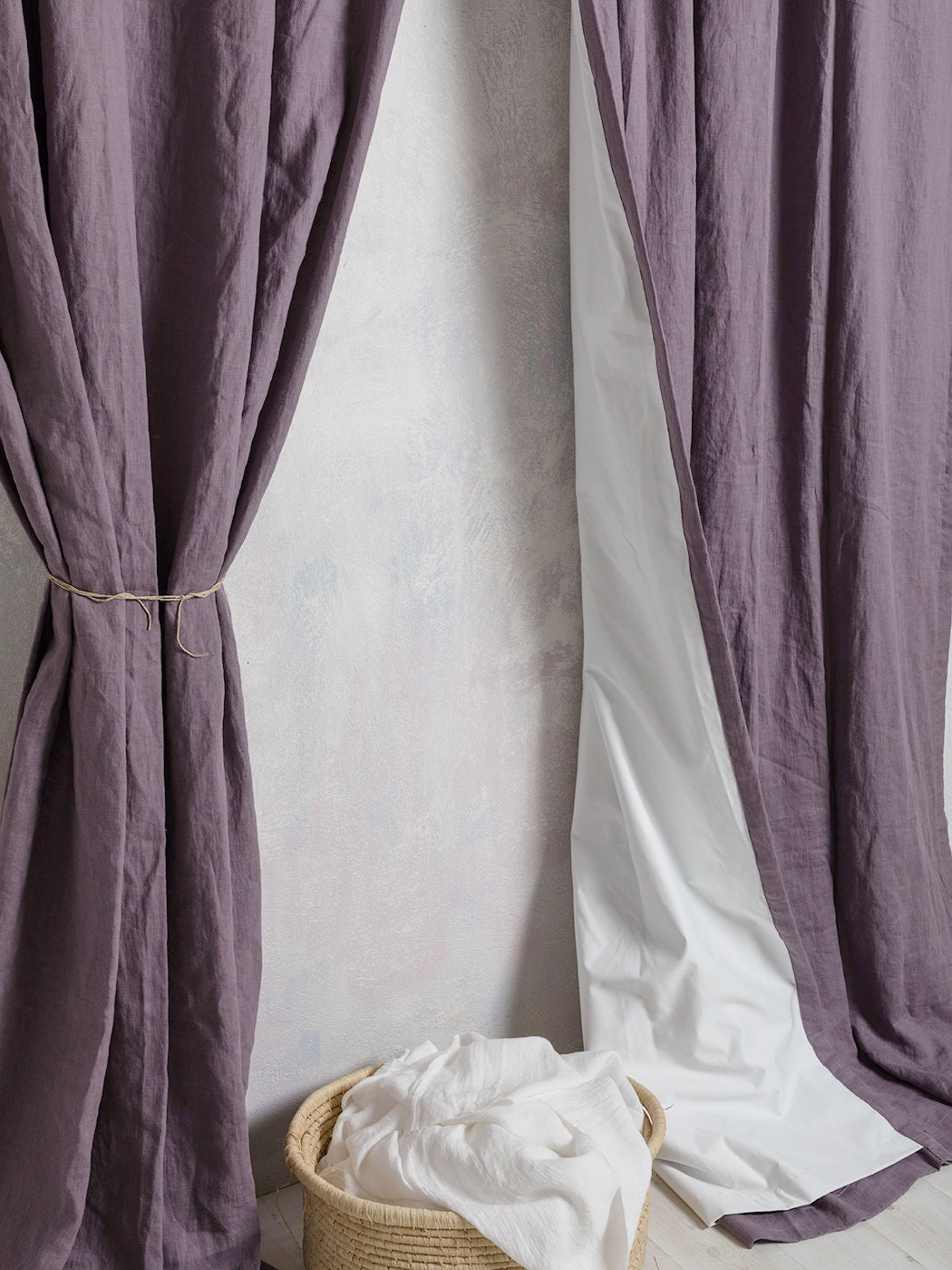 Linen Curtain Panel Linen Curtains Linen Drape In Purple Grey Color Curtain Black Out Linen Curtain Width 52 132cm X Custom Lenght