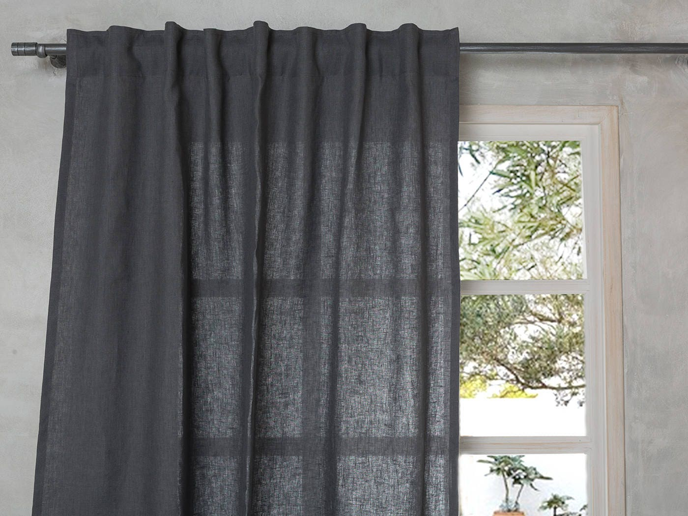 Linen Curtain Linen Drape Linen Panel In Dark Grey Linen Panel With Hidden Back Tabs Custom Lengthxwidth55 140cm