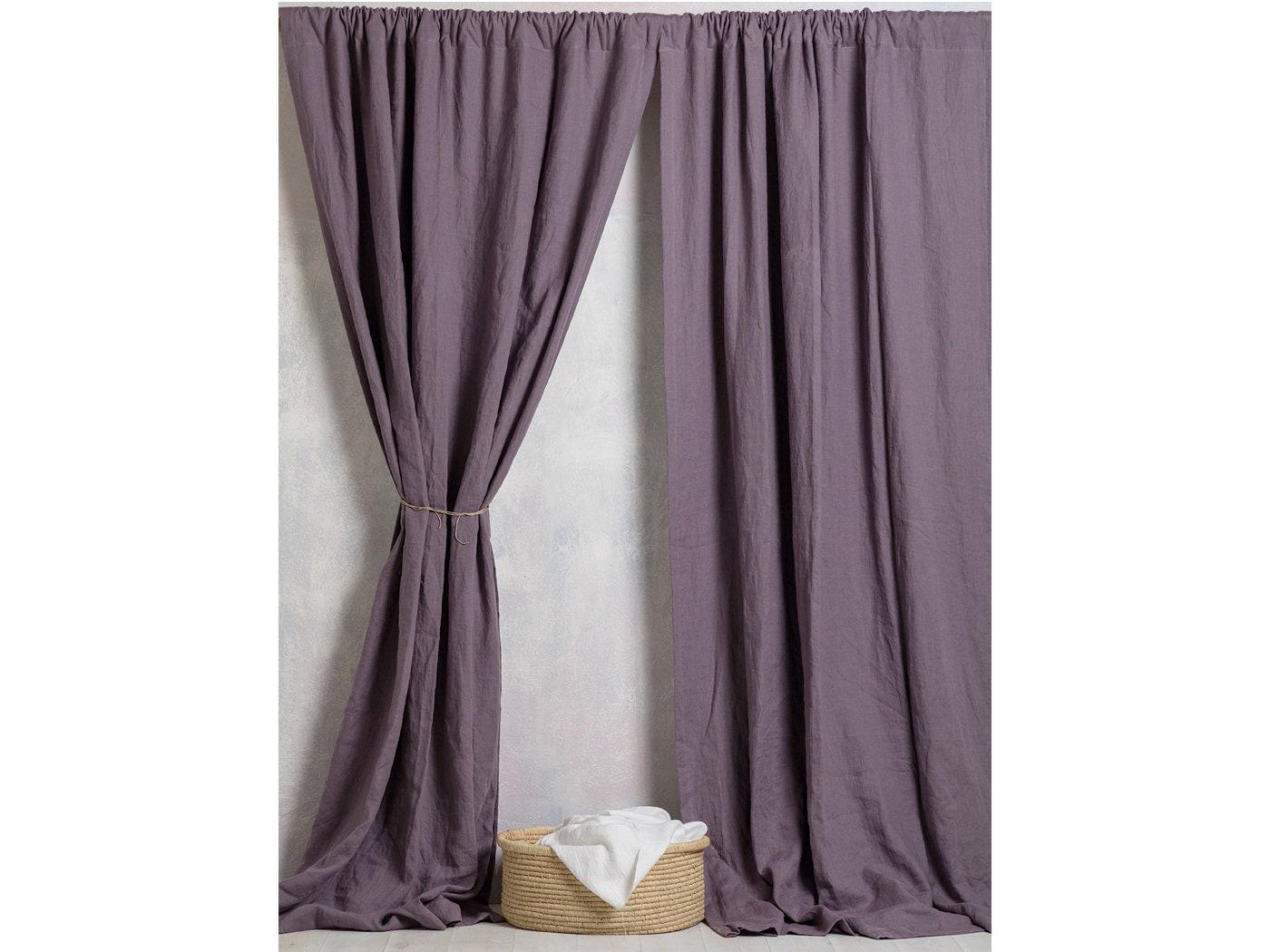 Linen Curtain Panel--Linen Curtains-Linen Drape In Purple