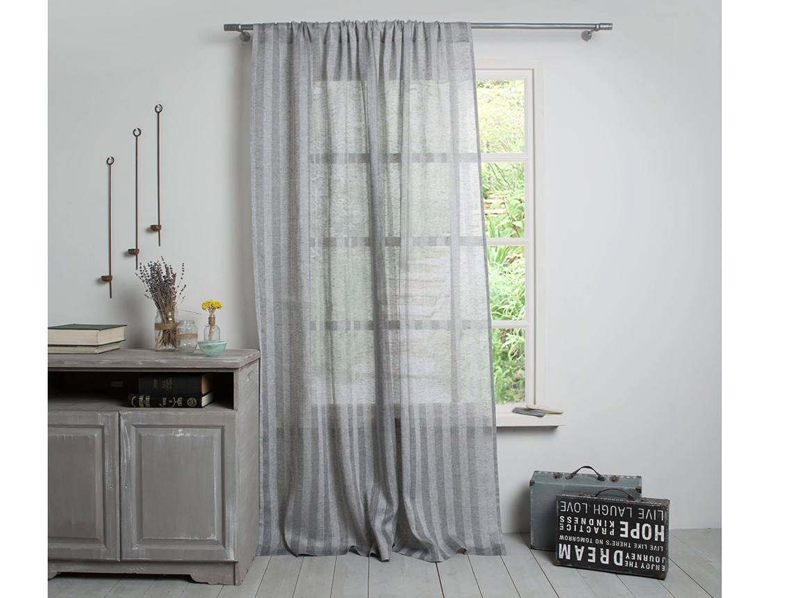 Linen Curtain Linen Drape Graphite Linen Panel Sheer