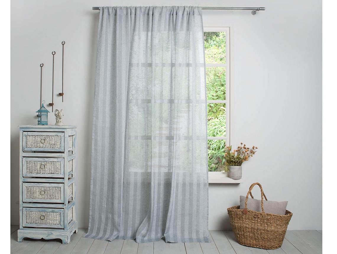 Linen Curtain-Linen Drape- Grey Blue Linen Panel -Sheer
