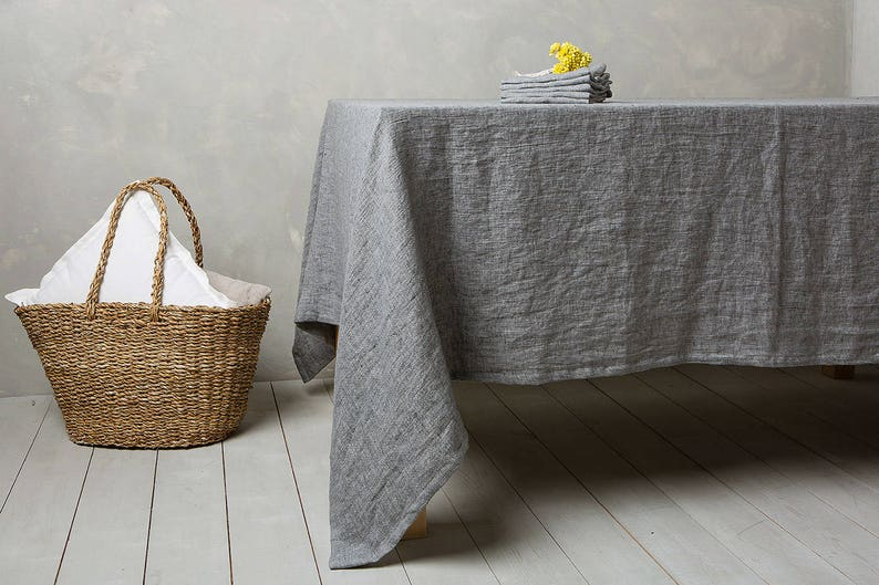 Gentil Linen Tablecloth Linen Table Cloth In Graphite Table  Linens Tablecloth Washed Linen Tableloth.