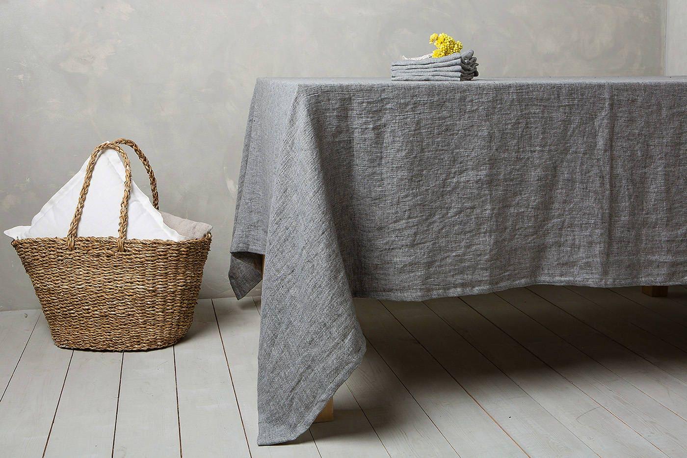Delicieux Linen Tablecloth Linen Table Cloth In Graphite Table Linens Tablecloth Washed  Linen Tableloth.