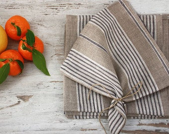 Linen Napkins,Set of 4-6-8 napk. Natural napkins with thin stripes in white and grey. 16.5''x16.5''(42x42cm) .
