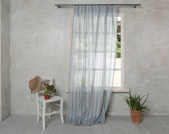 Linen Curtain-Linen Panel in Grey Blue color- Sheer Linen Curtain - Pleated Linen Panel Width 34'' (86cm) x Custom length.