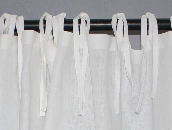 White Linen Curtain-White Linen Curtain With Ties-Linen