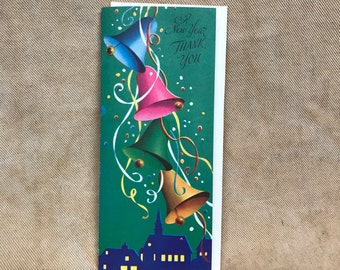 greeting card unused vintage mid century thank you happy new year bells retro style