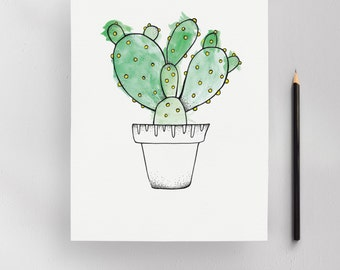 Consolea Cactus Illustration Art Print