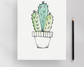 Klapperi Cactus Illustration Art Print