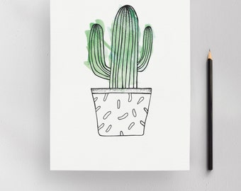 Stetsonia Cactus Illustration Art Print