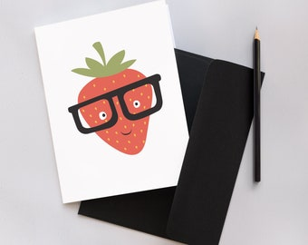 Funny Strawberry with Glasses Greeting Card