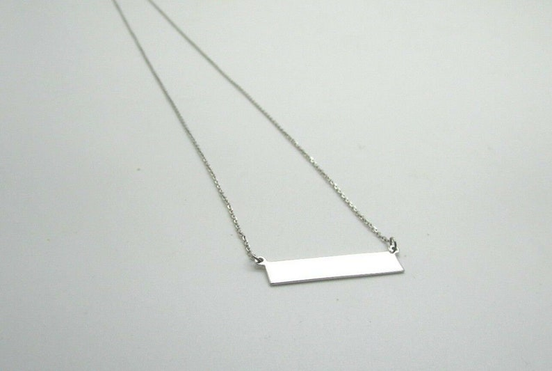 14K White Gold Long Horizontal Bar Pendant 18 2.8 Grams