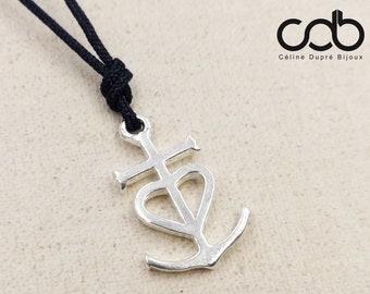 02a5c7be550 Collier réglable Croix de Camargue 17x23mm - étain finition argent 925 -  couleur cordon tressé au choix