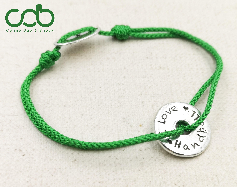 Bracelet sliding silver band 925 cord choice