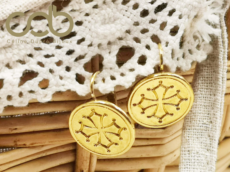 bulging with sleepers Earrings Occitan cross tin gold finish