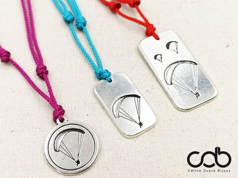 20mm in tin silver finish 925-20mm Adjustable paragliderparachute necklace