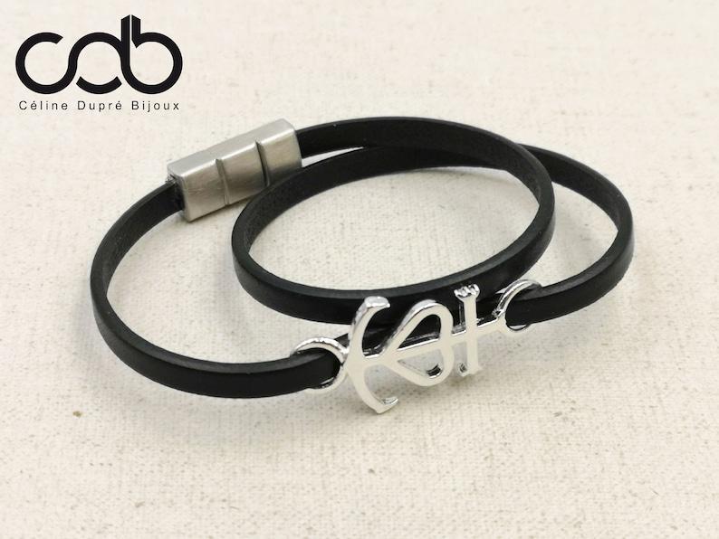 766f7bb7131 Bracelet cuir Croix de camargue 2 tours