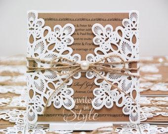 Wedding invitation embellishments etsy laser cut wedding invitation ivorycream with kraft card insert personalised sample stopboris Choice Image