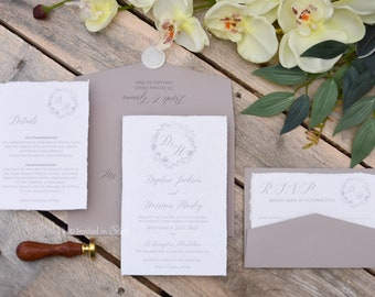 Handmade Paper Wedding Invitation, Cotton Paper, Cotton Rag, Deckled edge paper with wreath - SAMPLE
