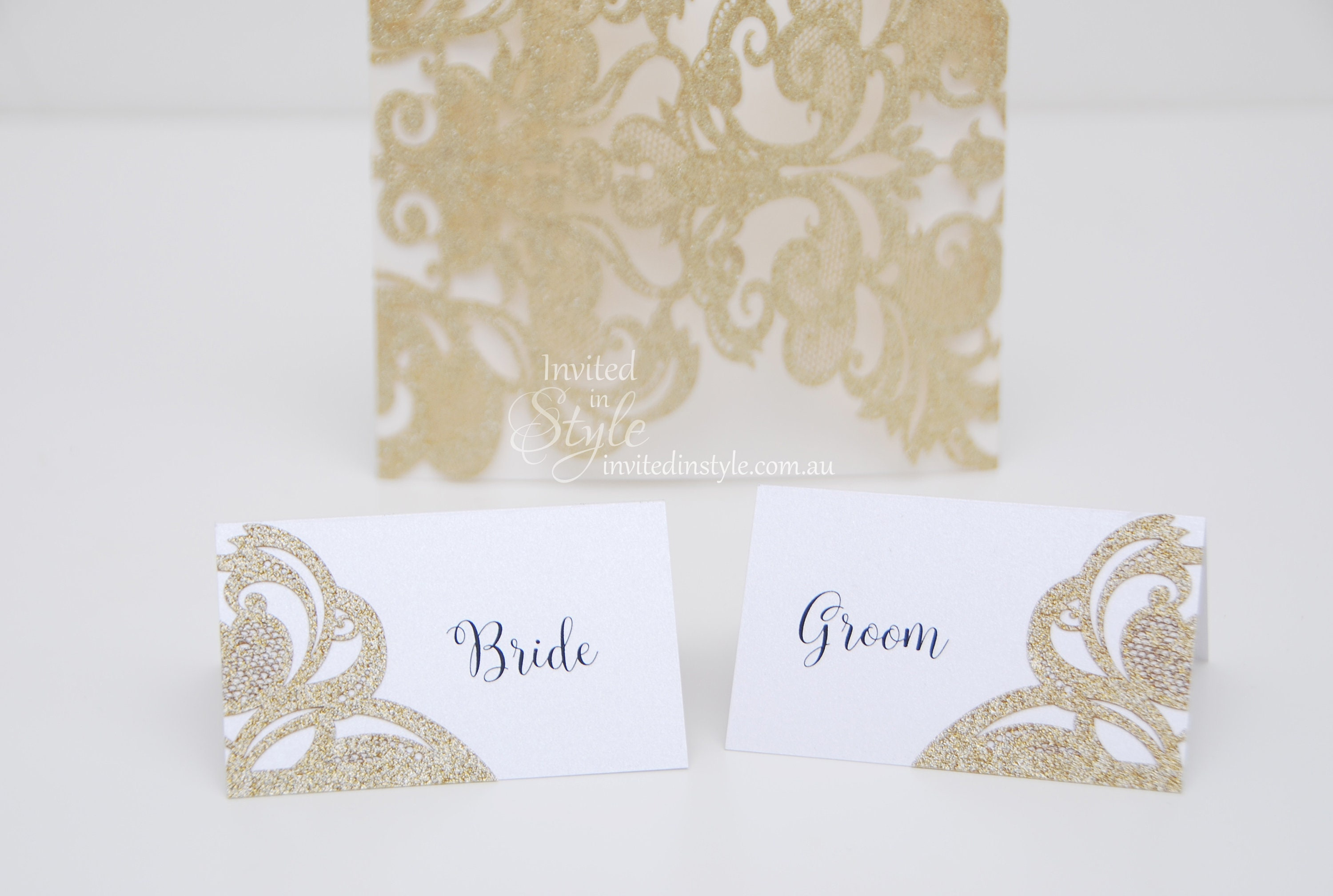 Glitter laser cut detail Place cards/Escort cards/Place | Etsy
