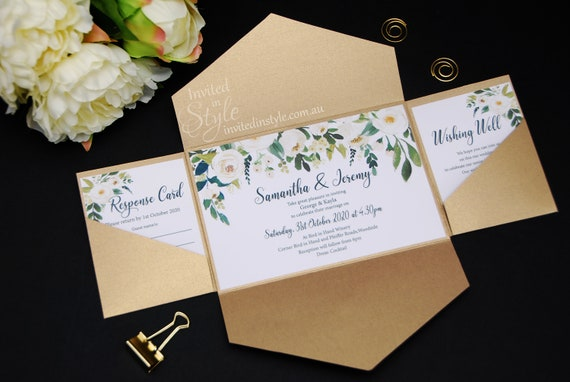 All In One Pocket Wedding Invitation Gold Ivory White Green Floral Personalised Sample Other Colours Available